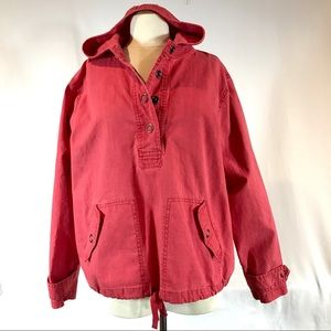 Coldwater Creek Red Hooded Popover Cotton Jacket
